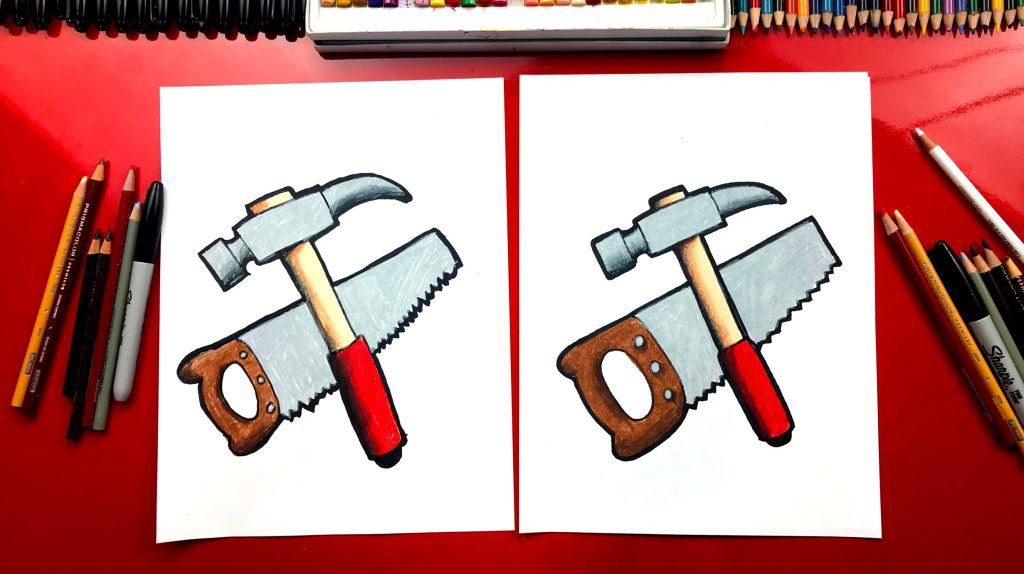 How To Draw A Hammer And Saw For Father's Day
