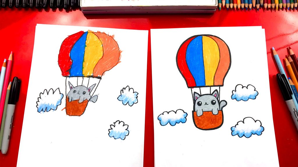 How To Draw A Kitten In A Hot Air Balloon