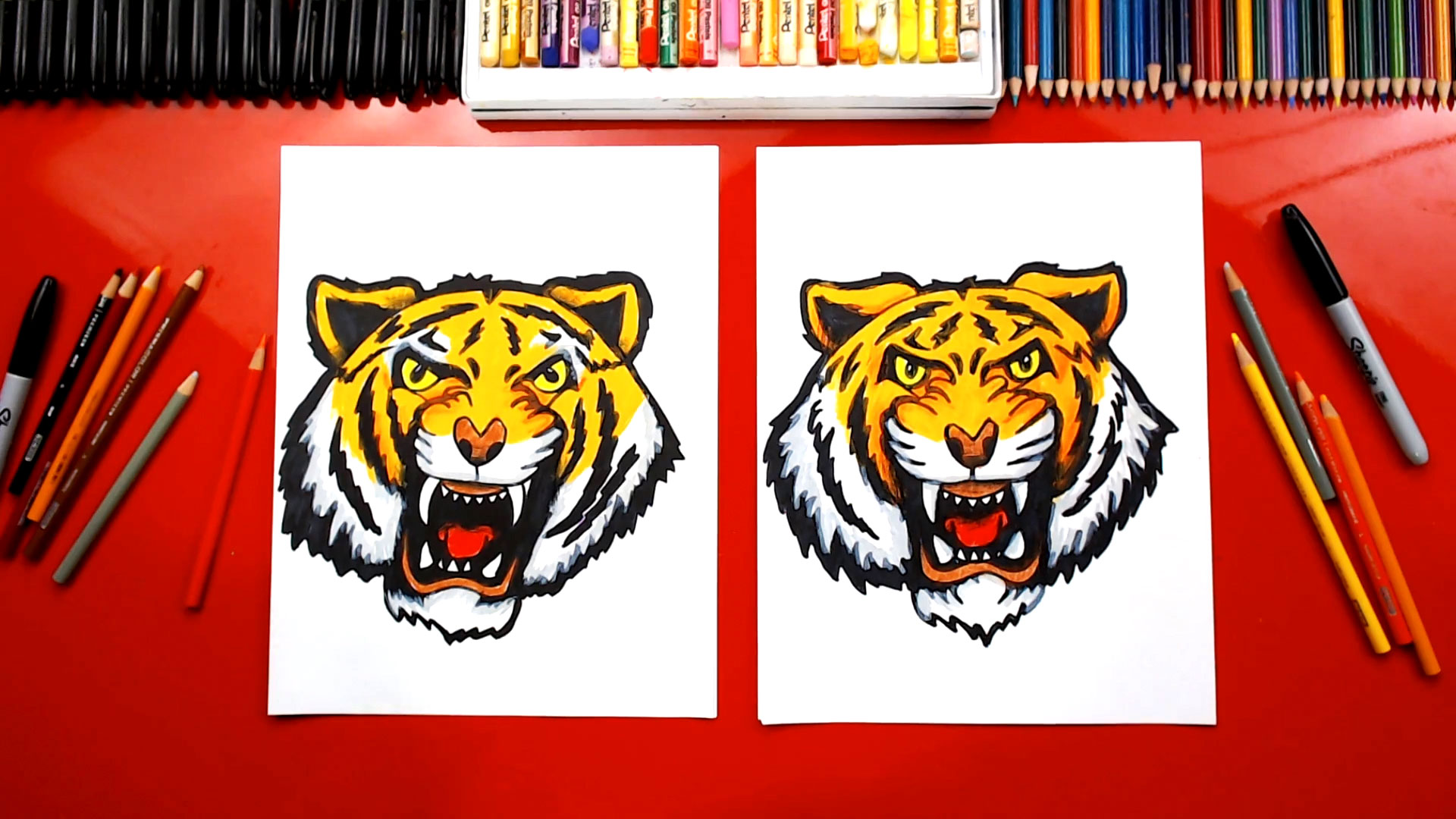 How to draw a realistic tiger head art for kids hub