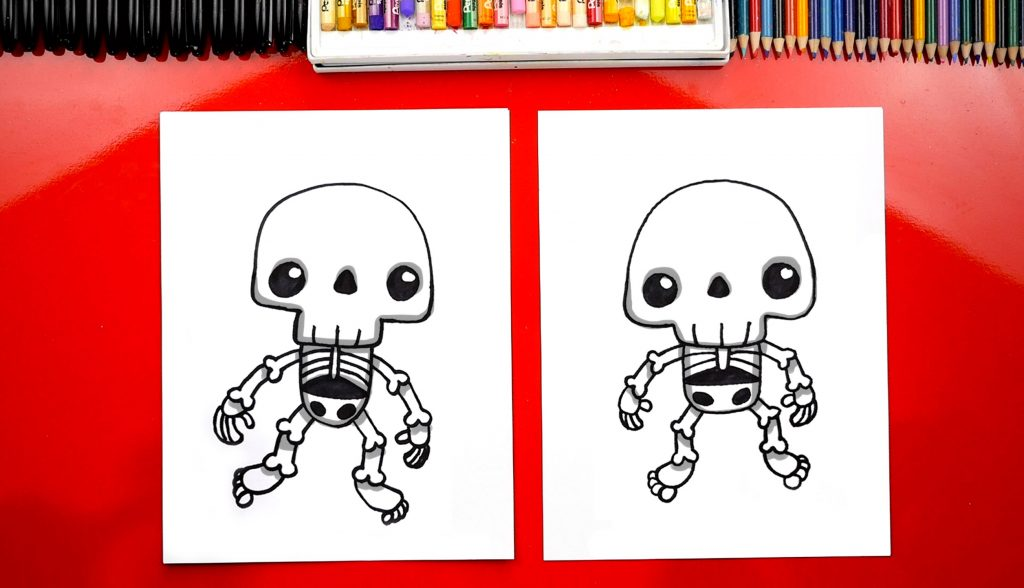 How To Draw A Cute Skeleton Kawaii
