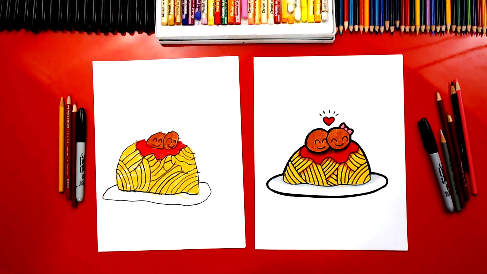 How To Draw Funny Spaghetti And Meatballs - Art For Kids Hub
