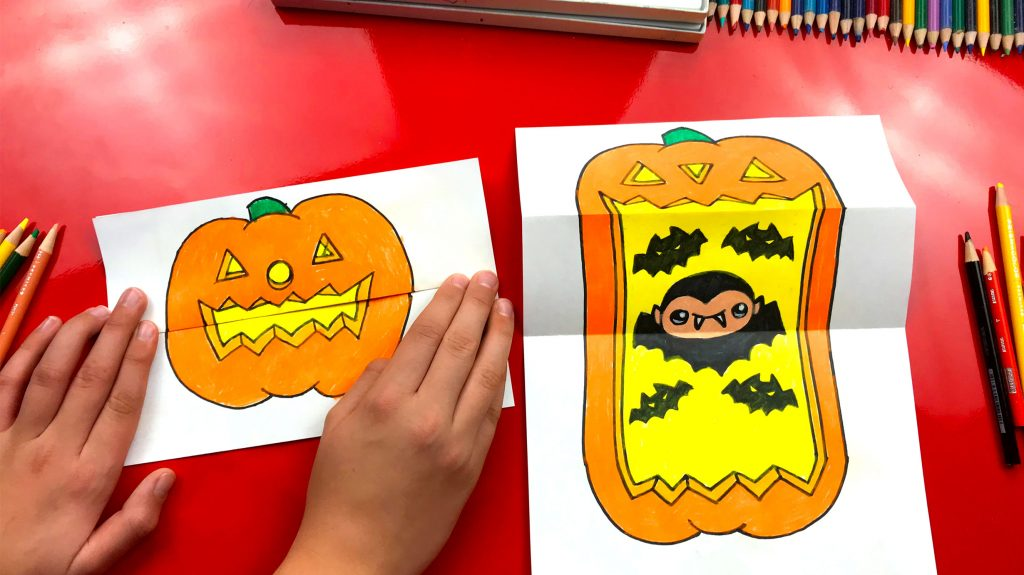 How To Draw A Big Mouth Pumpkin (Folding Surprise)