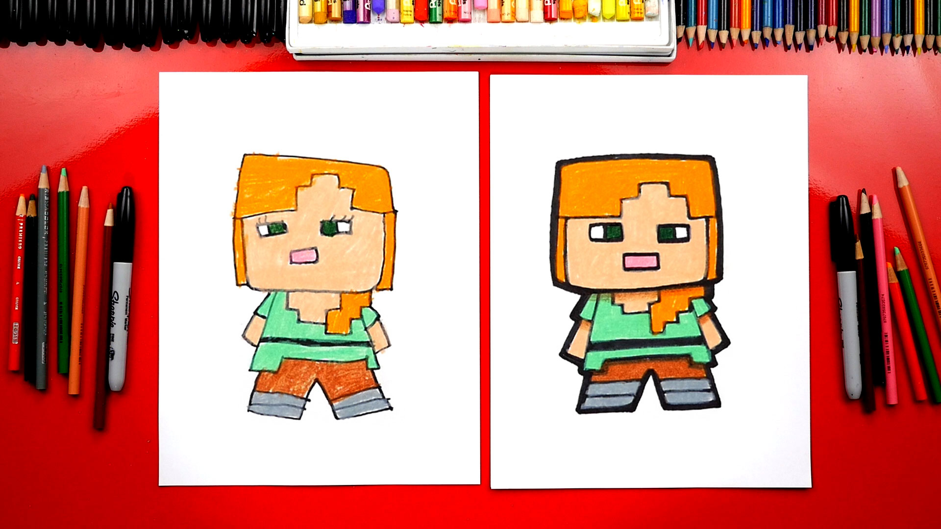 how to draw alex from minecraft art for kids hub