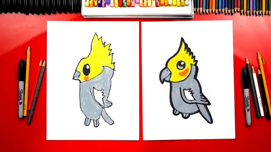 How To Draw A Cartoon Cockatiel