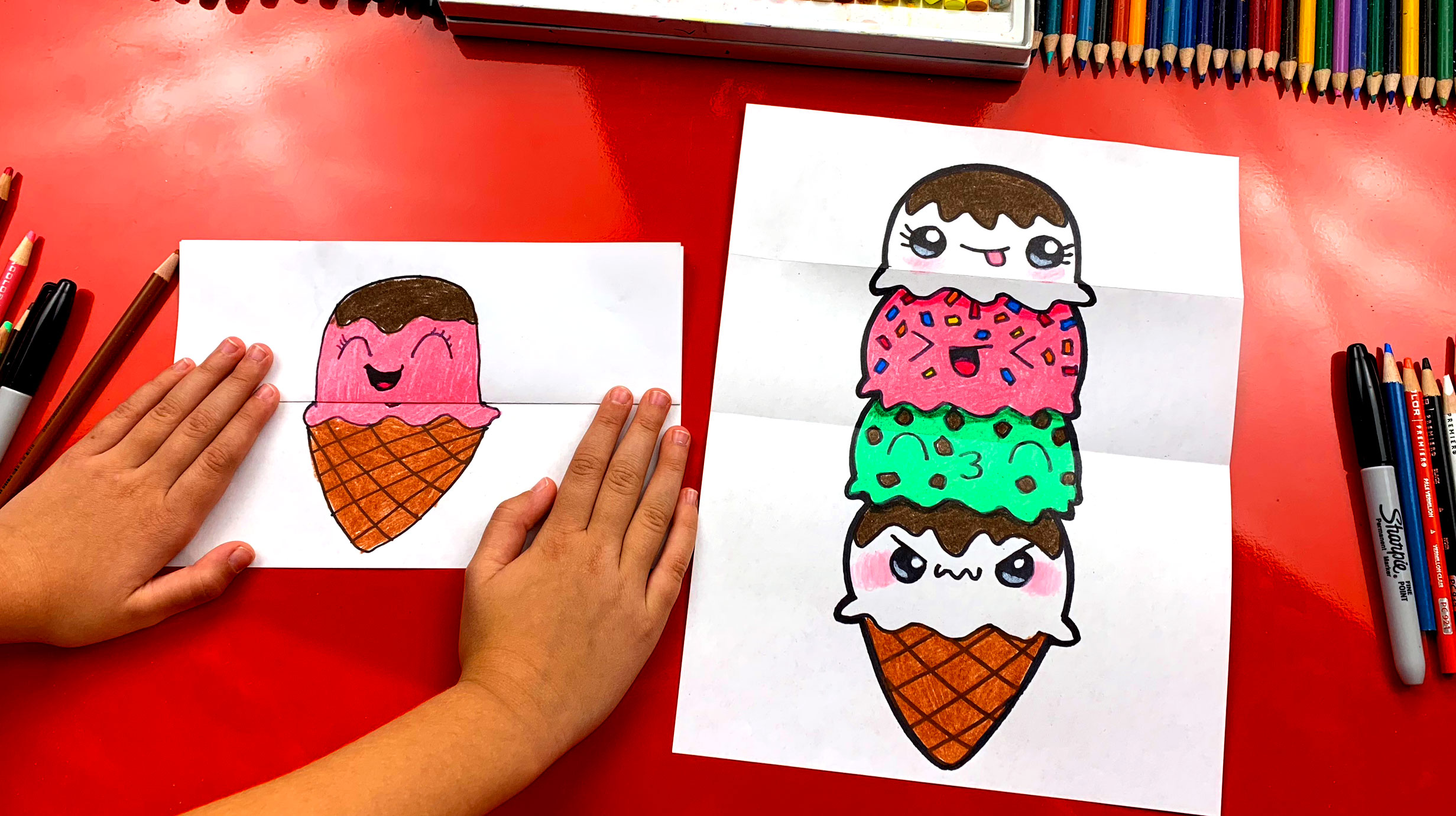 How to draw an ice cream tower folding surprise