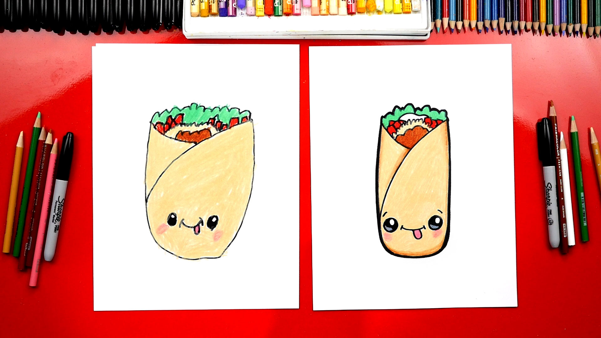 how to draw a funny burrito art for kids hub