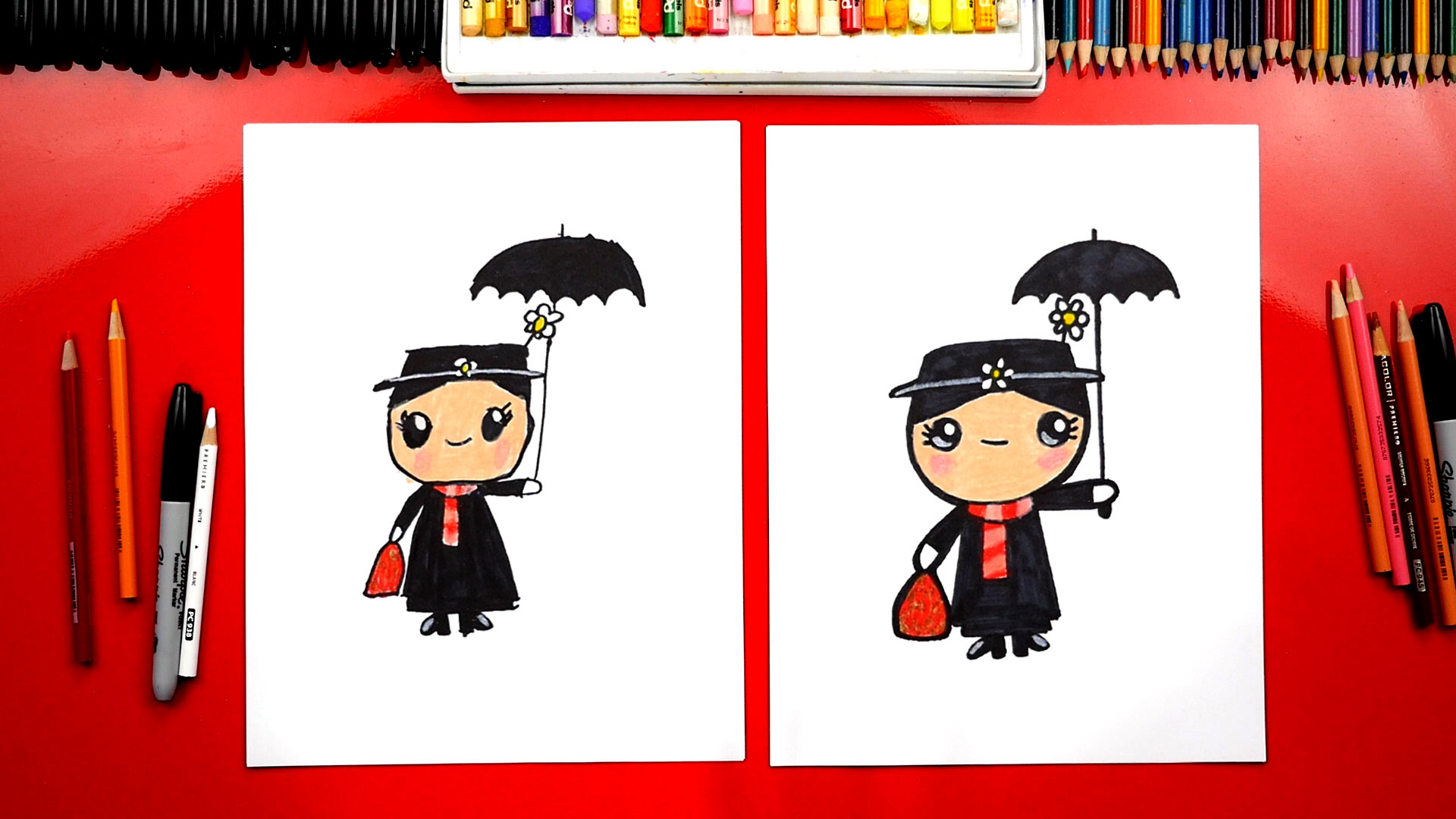 How To Draw Disney S Mary Poppins Art For Kids Hub