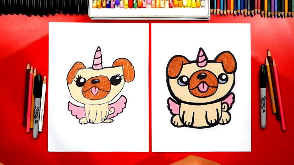 How To Draw A Pugicorn Unipug Unicorn Pug