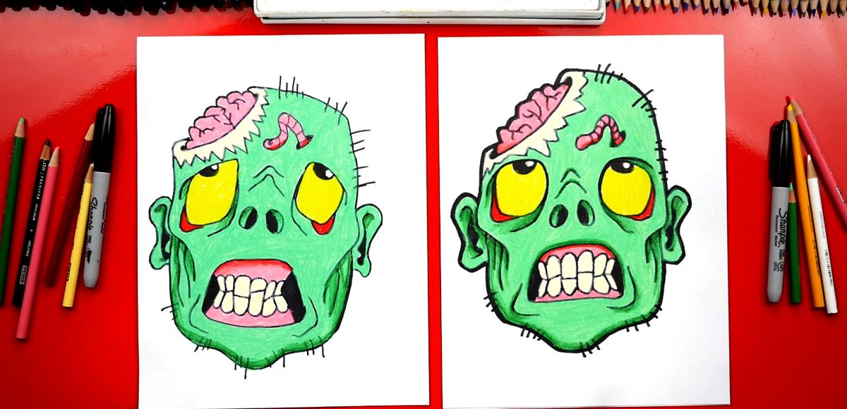 How To Draw A Zombie Head For Halloween