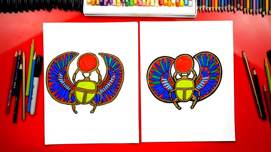 How To Draw An Egyptian Scarab Beetle