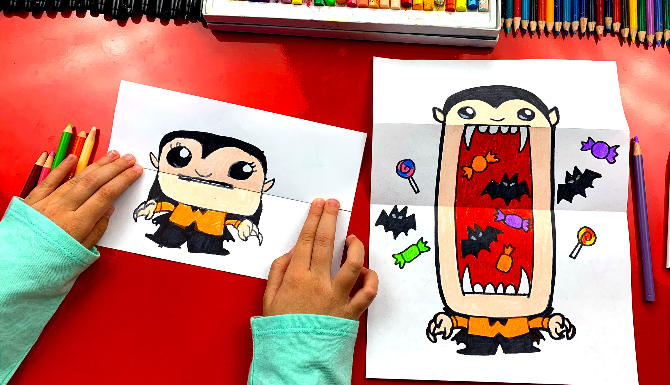 How To Draw A Big Mouth Vampire Folding Surprise Art