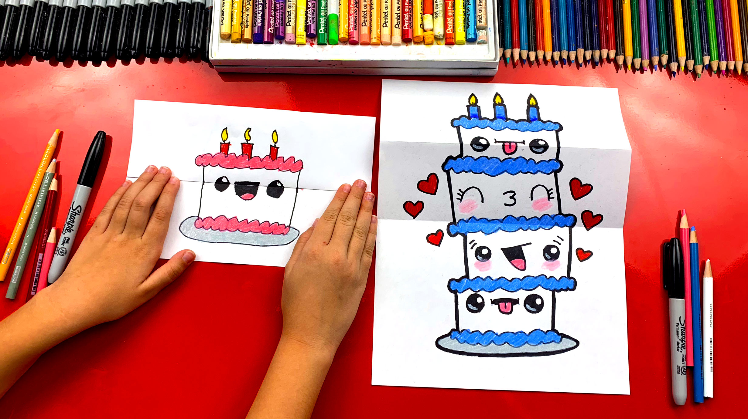 How To Draw A Birthday Cake Tower Folding Surprise Art For Kids