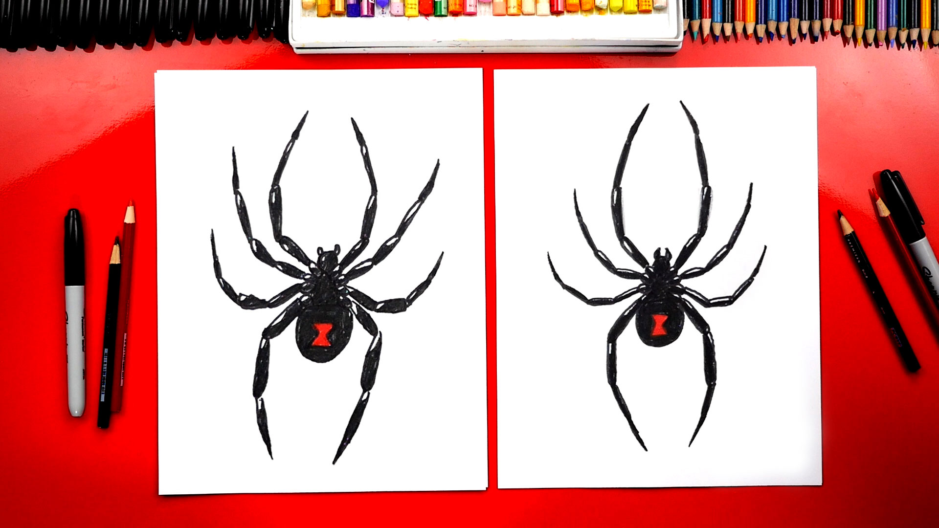 How To Draw A Black Widow Spider Art For Kids Hub