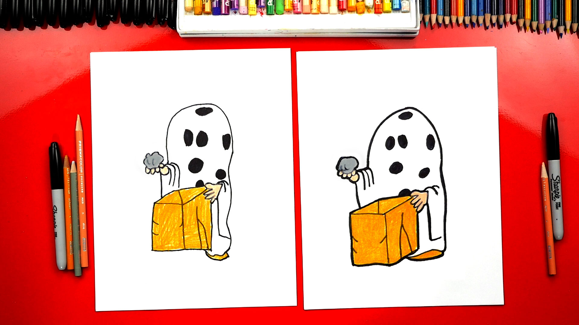 How To Draw Charlie Brown Halloween Ghost - Art For Kids Hub -