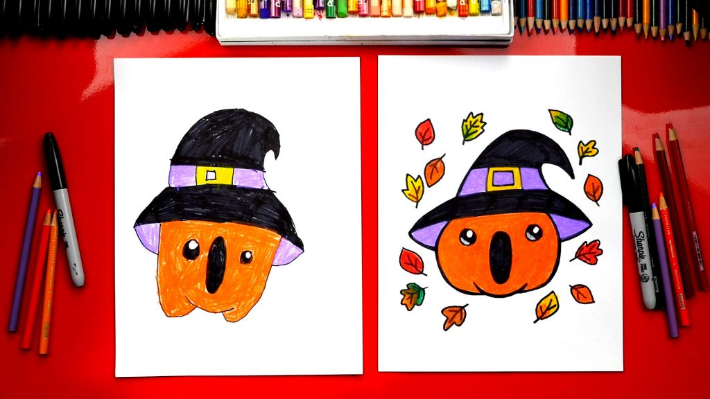 How To Draw A Pumpkin With A Witch Hat