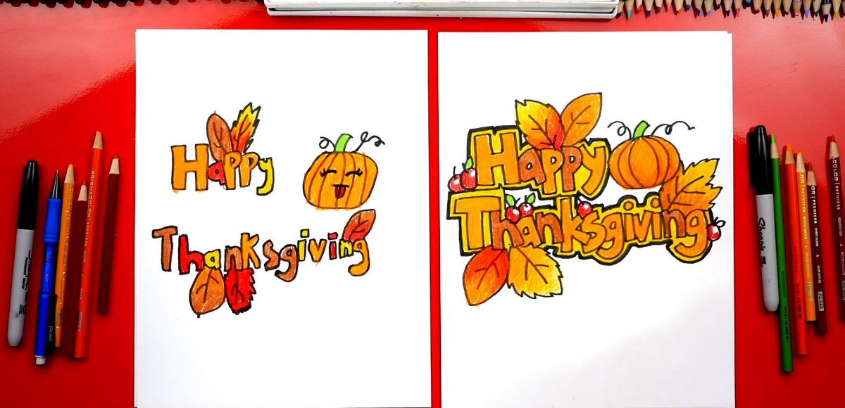 How To Draw Happy Thanksgiving Block Letters