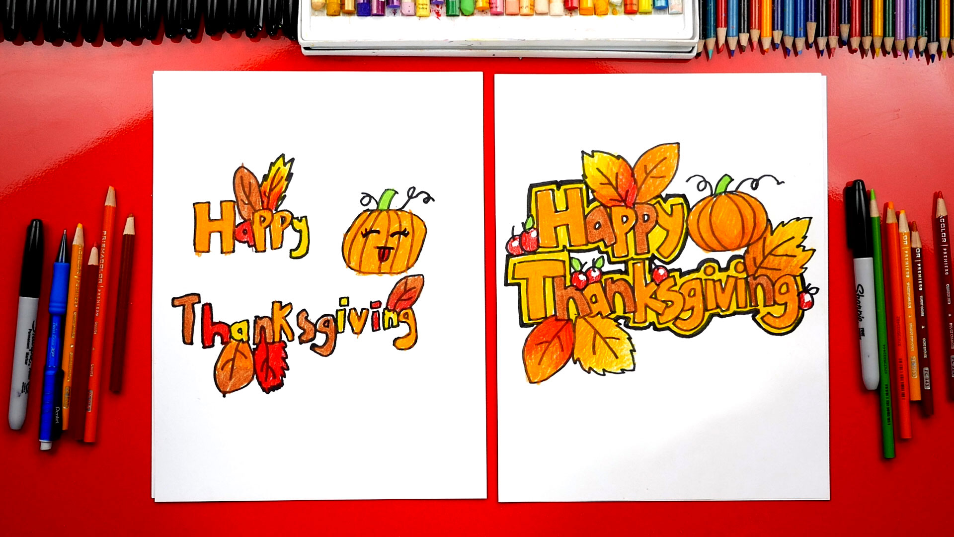 How To Draw Happy Thanksgiving Block Letters Art For