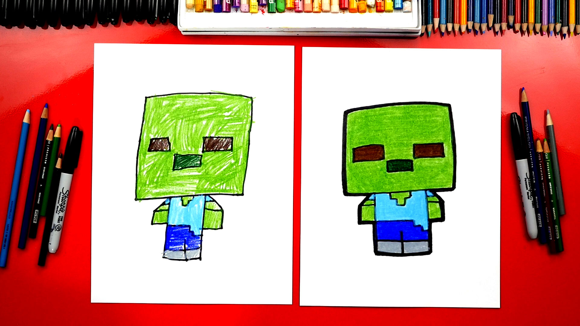 How To Draw A Minecraft Zombie Art For Kids Hub