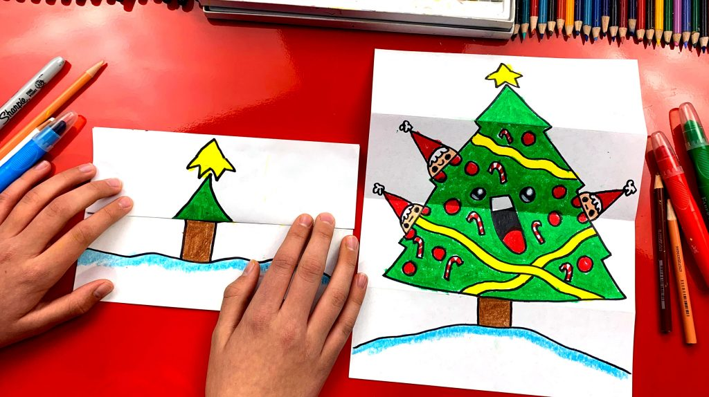 How To Draw A Christmas Tree Folding Surprise