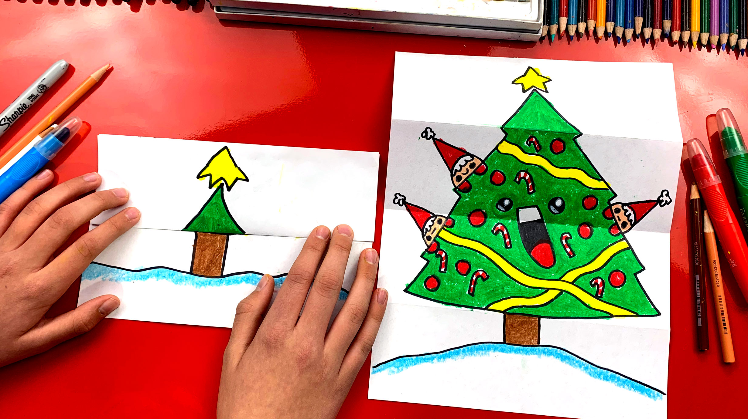 How To Draw A Christmas Tree Folding Surprise Art For Kids Hub