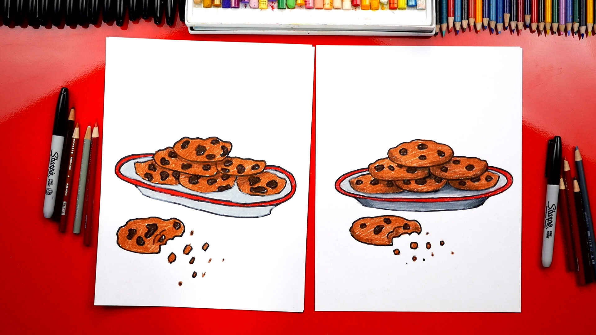 How To Draw A Plate Of Cookies For Santa Art For Kids Hub