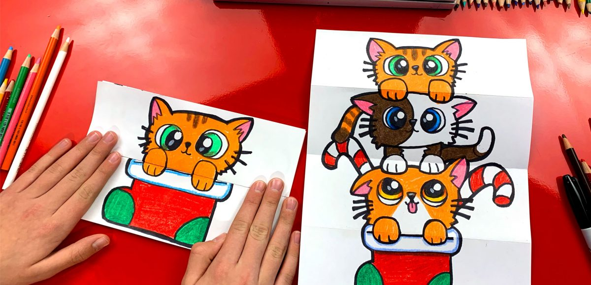 How To Draw A Christmas Kitten Stack (Folding Surprise)