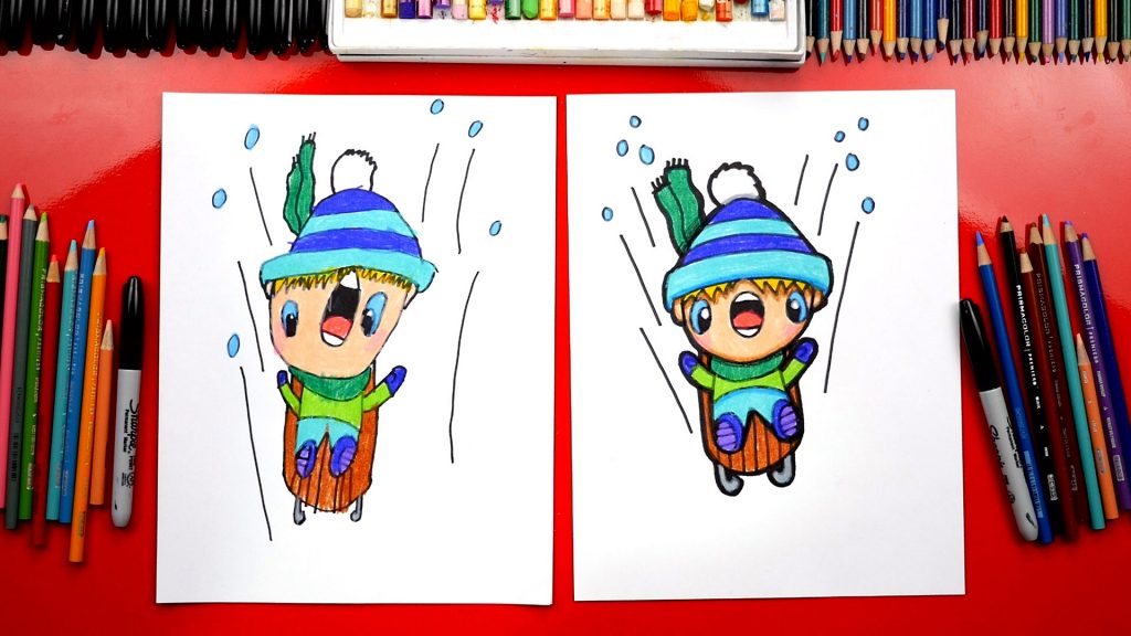 How To Draw A Kid Sledding