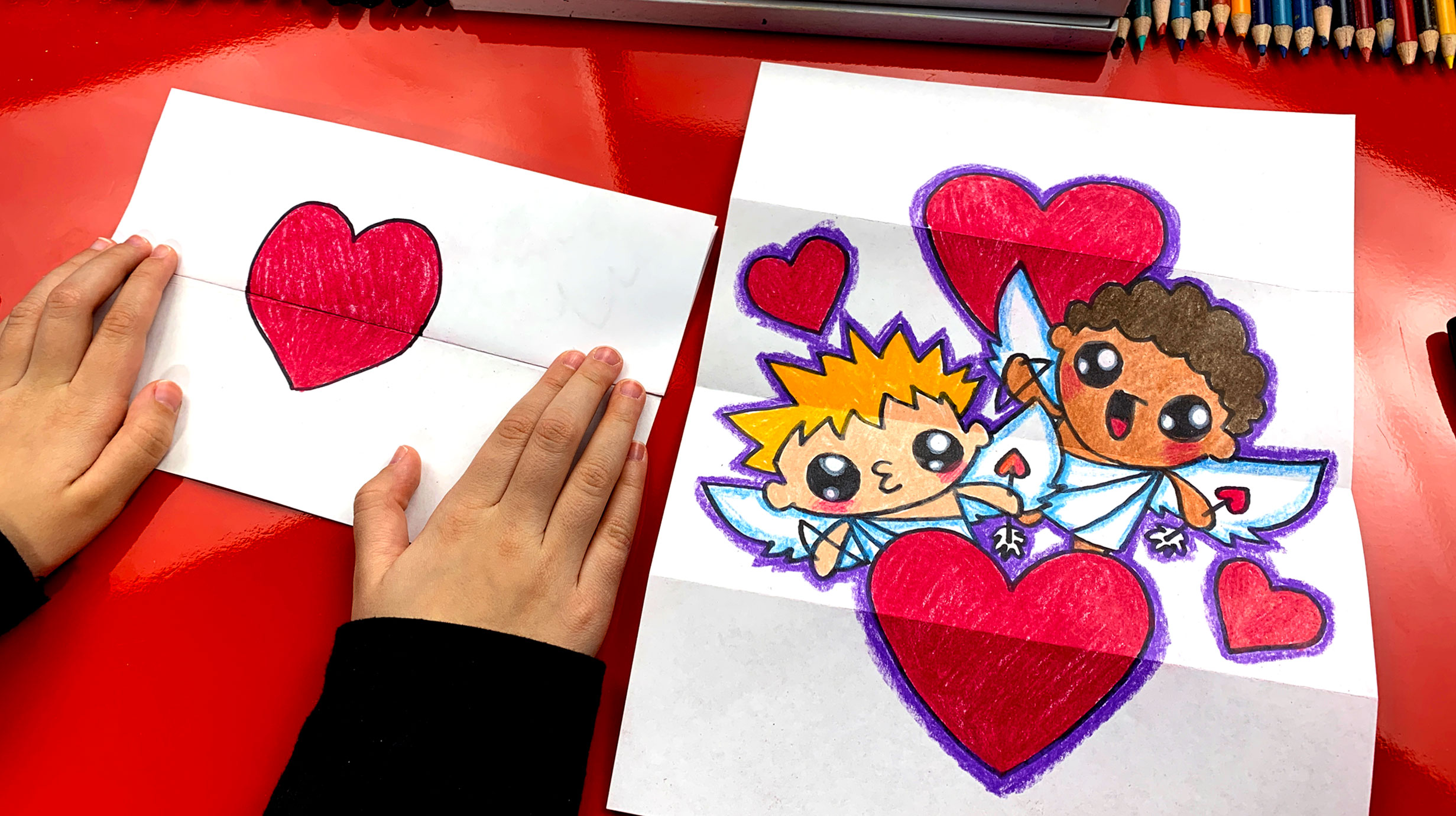 How To Draw A Valentine S Day Folding Surprise Art For Kids Hub