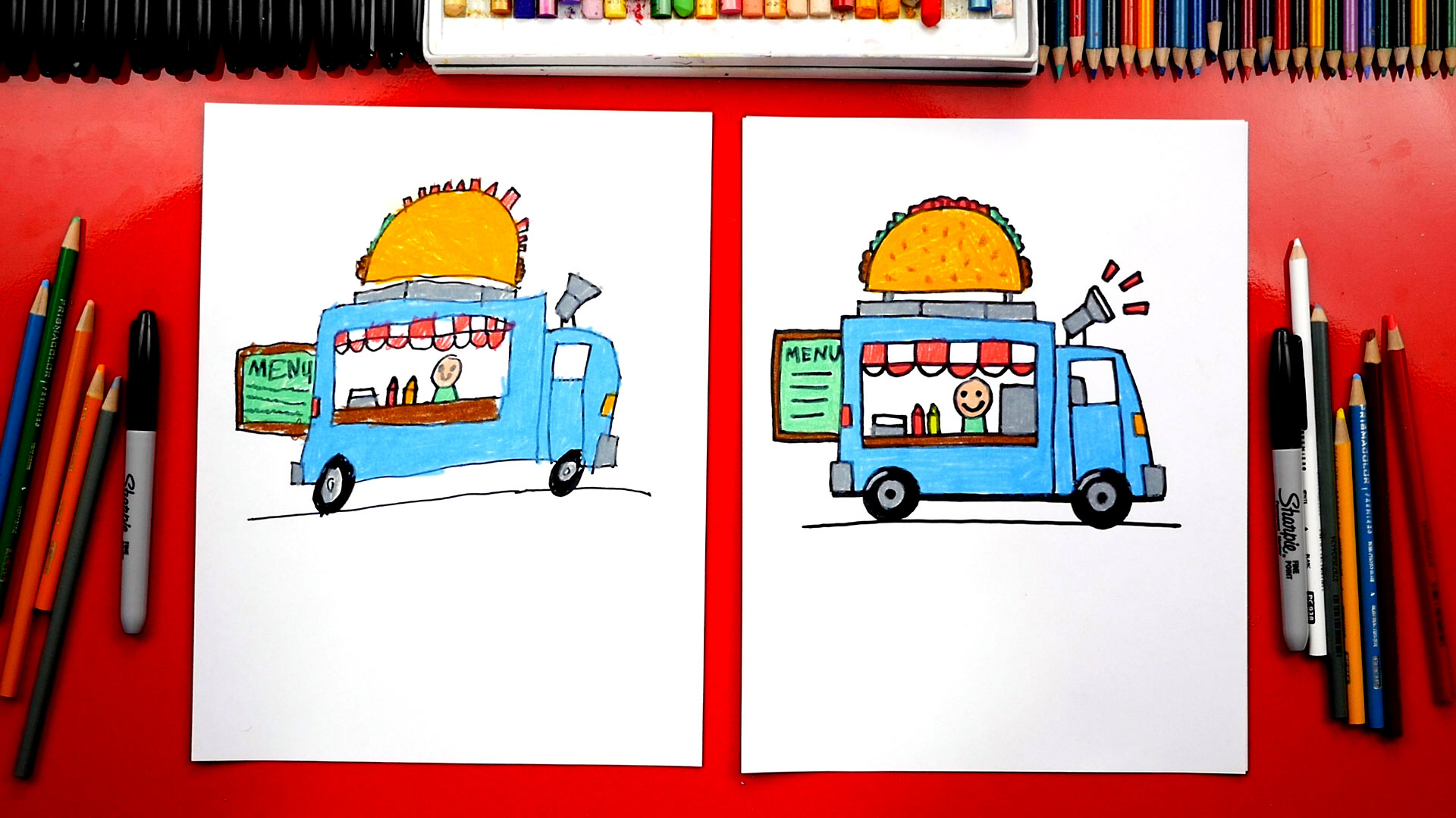 How To Draw A Food Truck + New Challenge Time - Art For ...