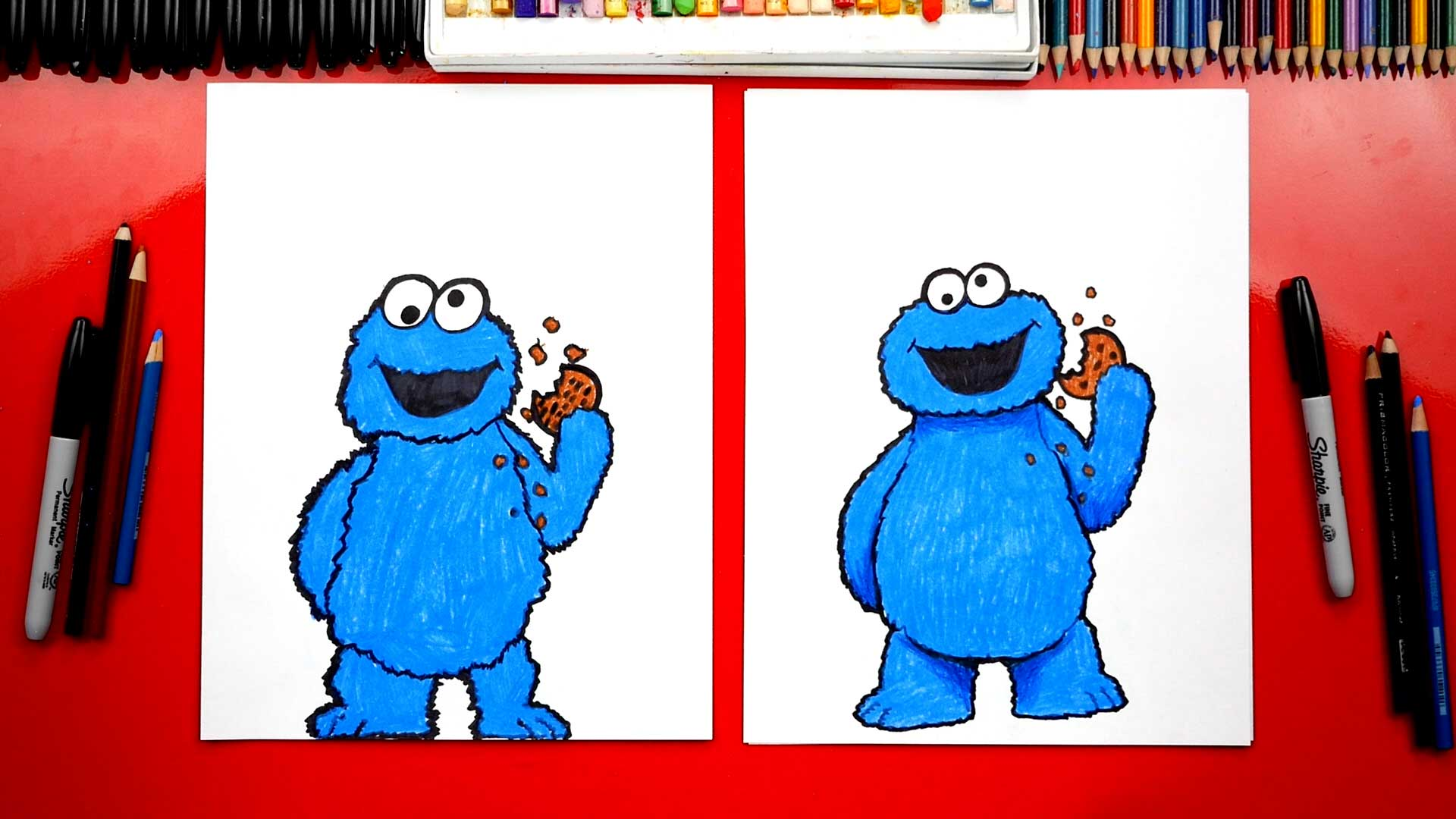 How To Draw Cookie Monster From Sesame Street Art For Kids Hub