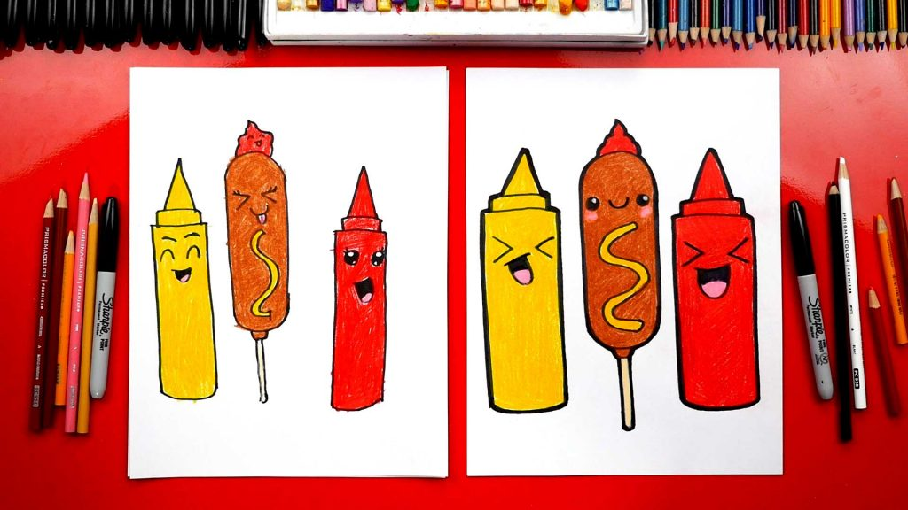 How To Draw A Funny Corn Dog Mustard and Ketchup