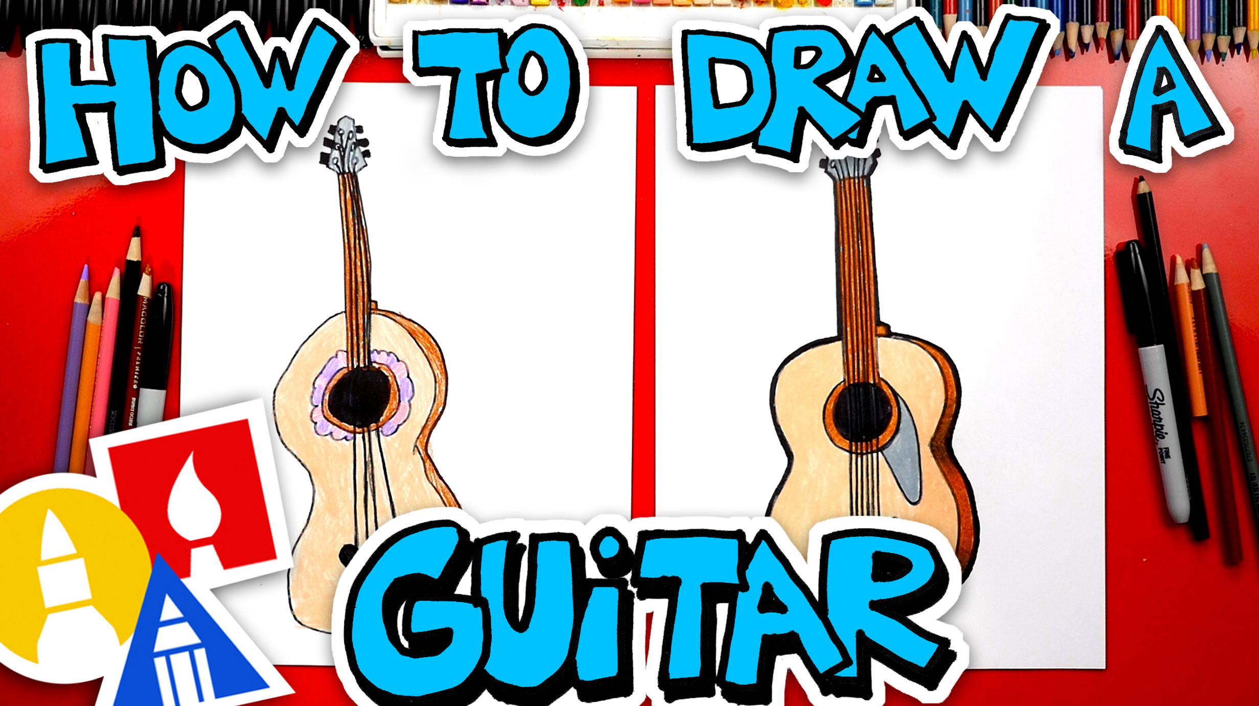 How To Draw A Guitar Art For Kids Hub