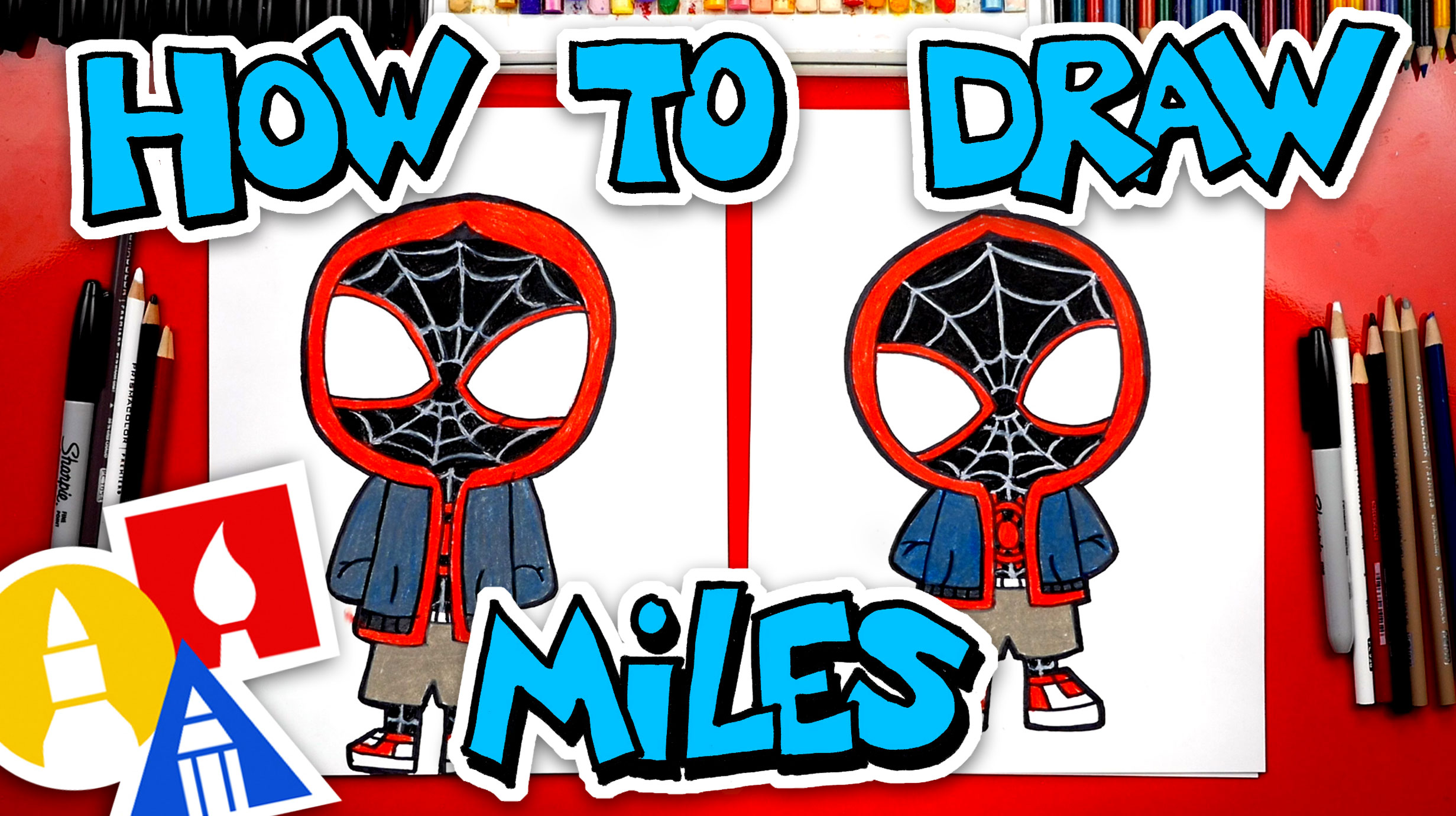 How To Draw Miles Morales From Spider-Man - Art For Kids Hub -