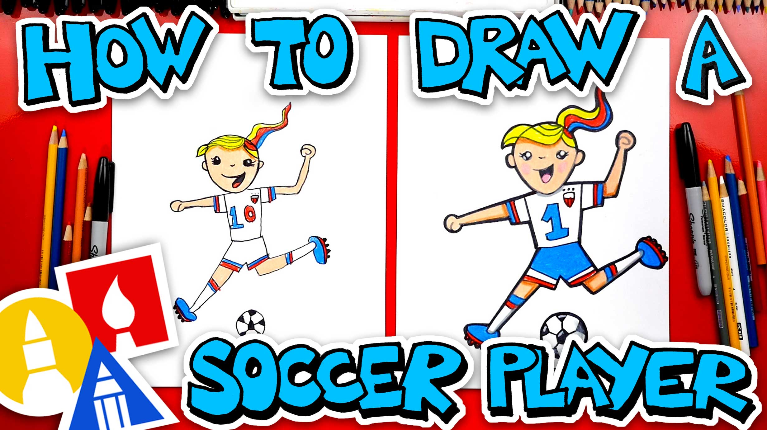 How To Draw A Girl Soccer Player - Art For Kids Hub -