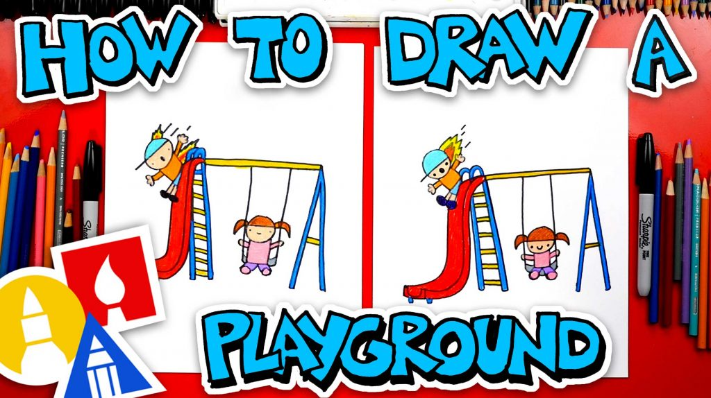 How To Draw A Playground With Swing And Slide