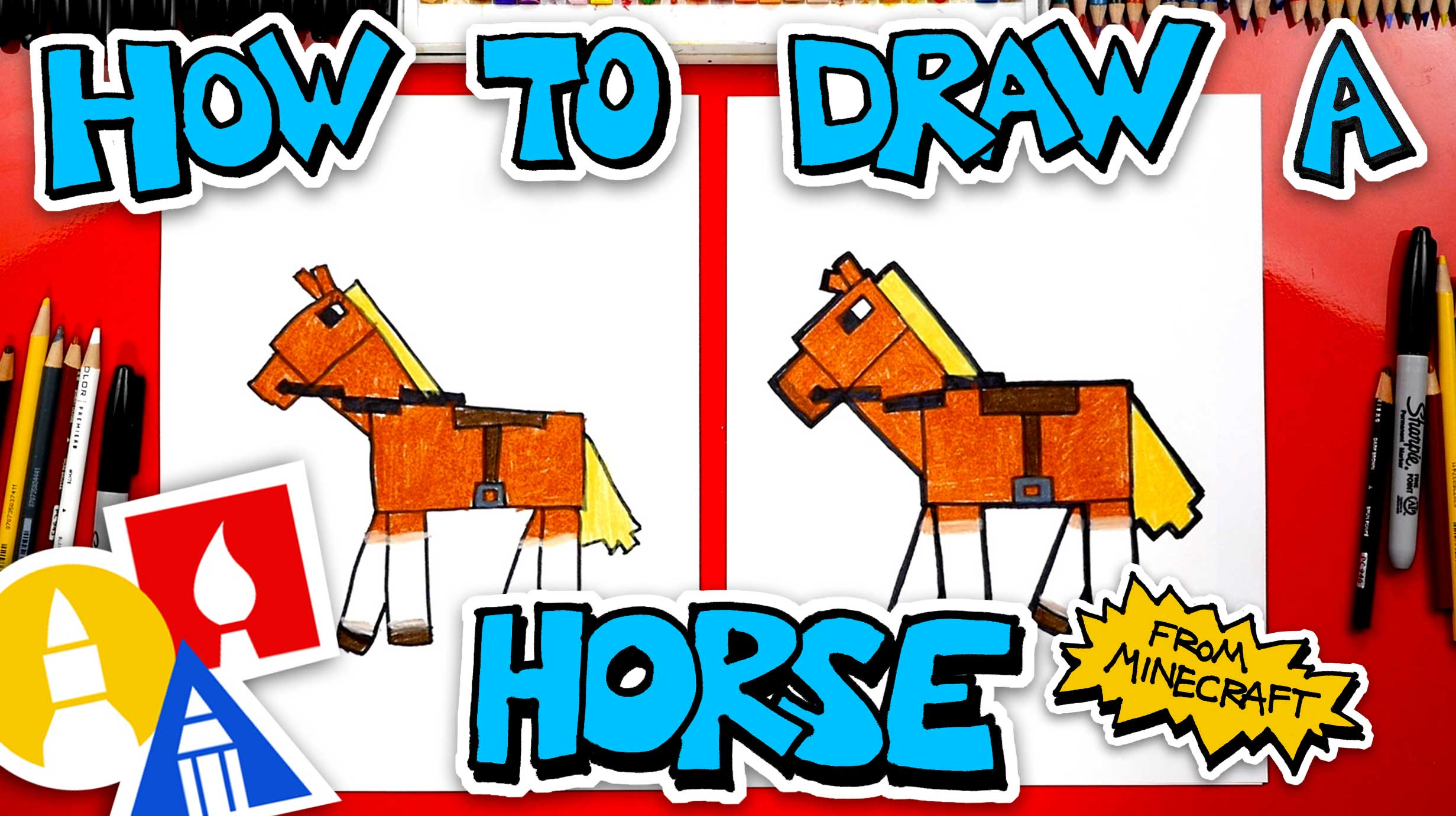How To Draw A Horse From Minecraft Art For Kids Hub