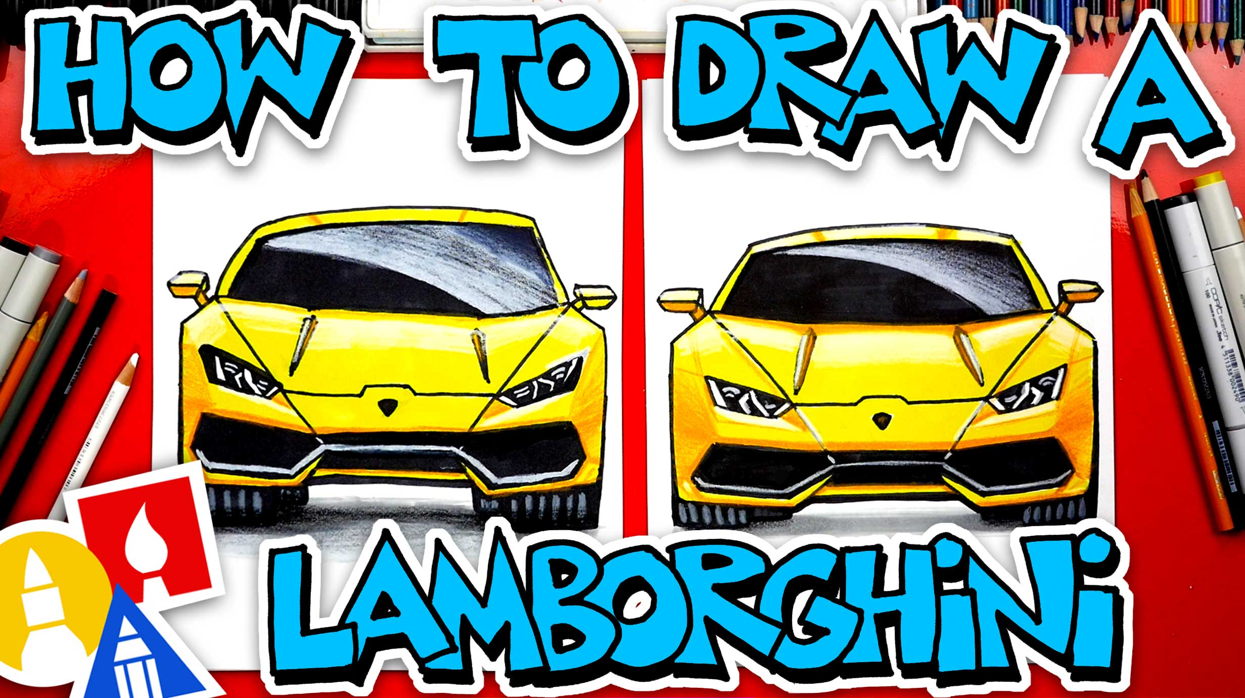 How To Draw A Lamborghini Front View Art For Kids Hub