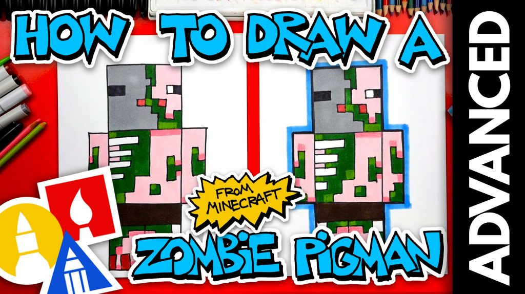 How To Draw A Zombie Pigman From Minecraft (Advanced)
