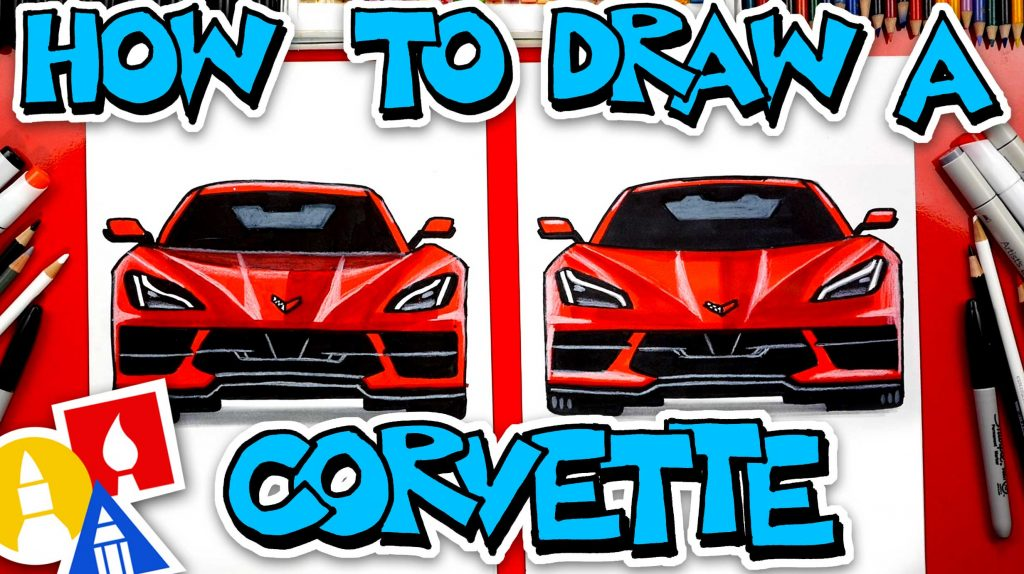 How To Draw A Corvette C8 2020 (Front View)