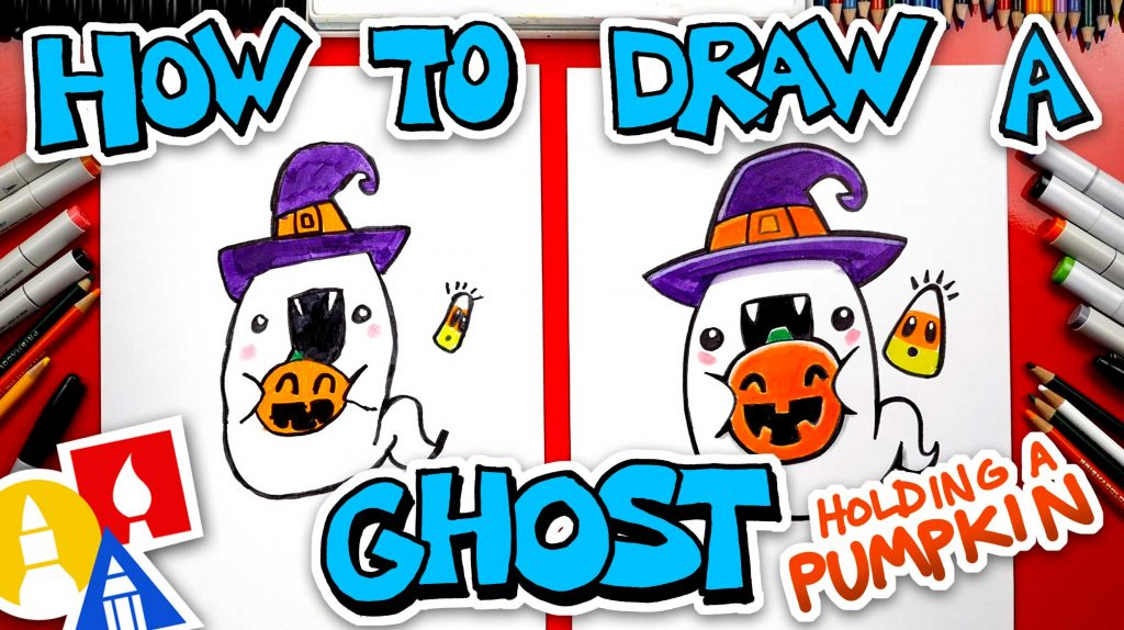 How To Draw A Ghost Holding A Pumpkin