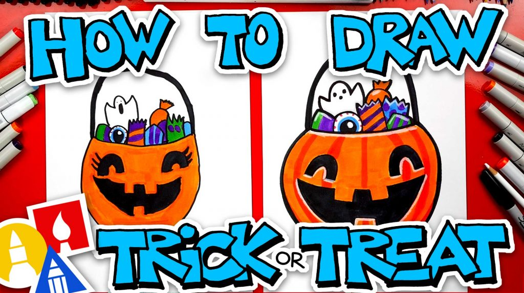 How To Draw A Halloween Trick or Treat Pumpkin