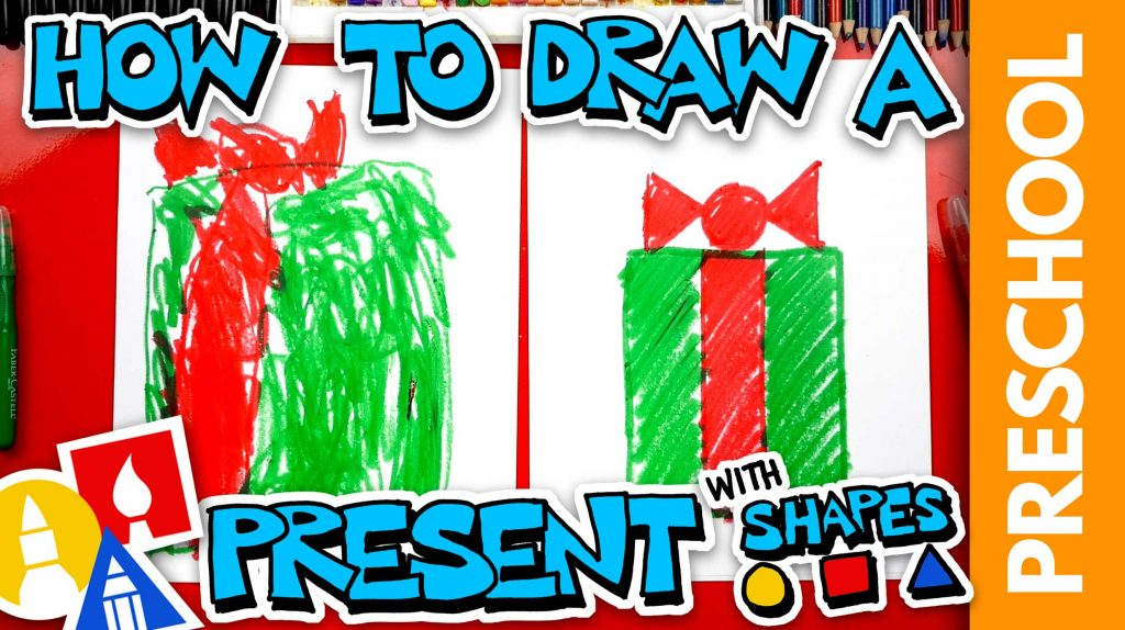 Drawing A Christmas Present With Shapes – Preschool