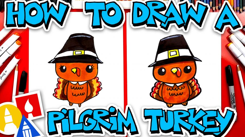 How To Draw A Cute Cartoon Pilgrim Turkey