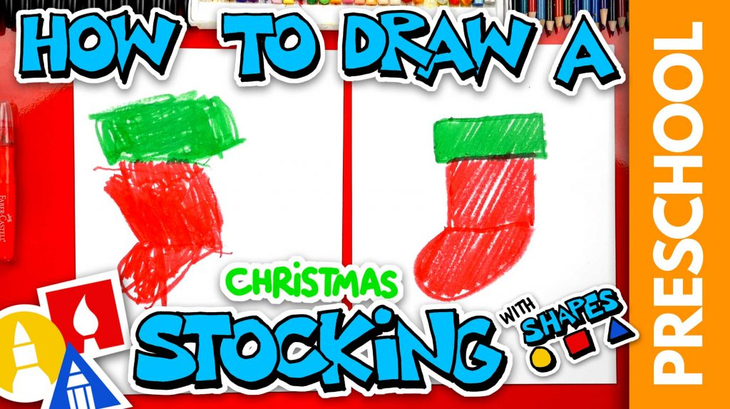 Drawing A Christmas Stocking With Shapes – Preschool