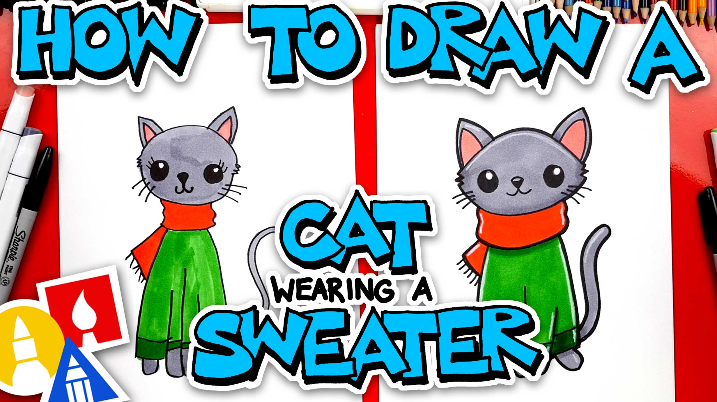 How To Draw A Christmas Cat Wearing A Sweater - Art For ...