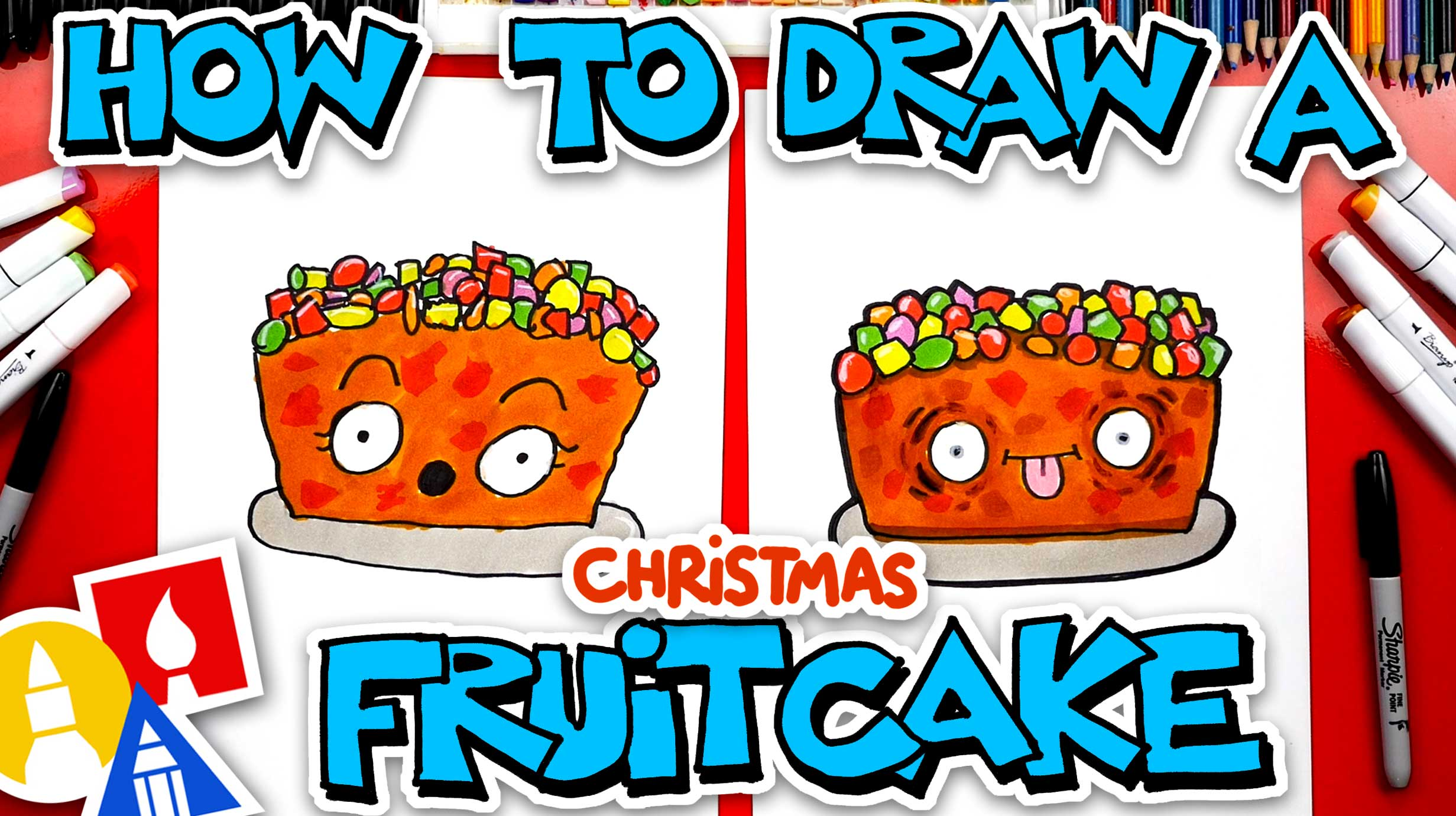 How To Draw A Funny Fruit Cake - Art For Kids Hub