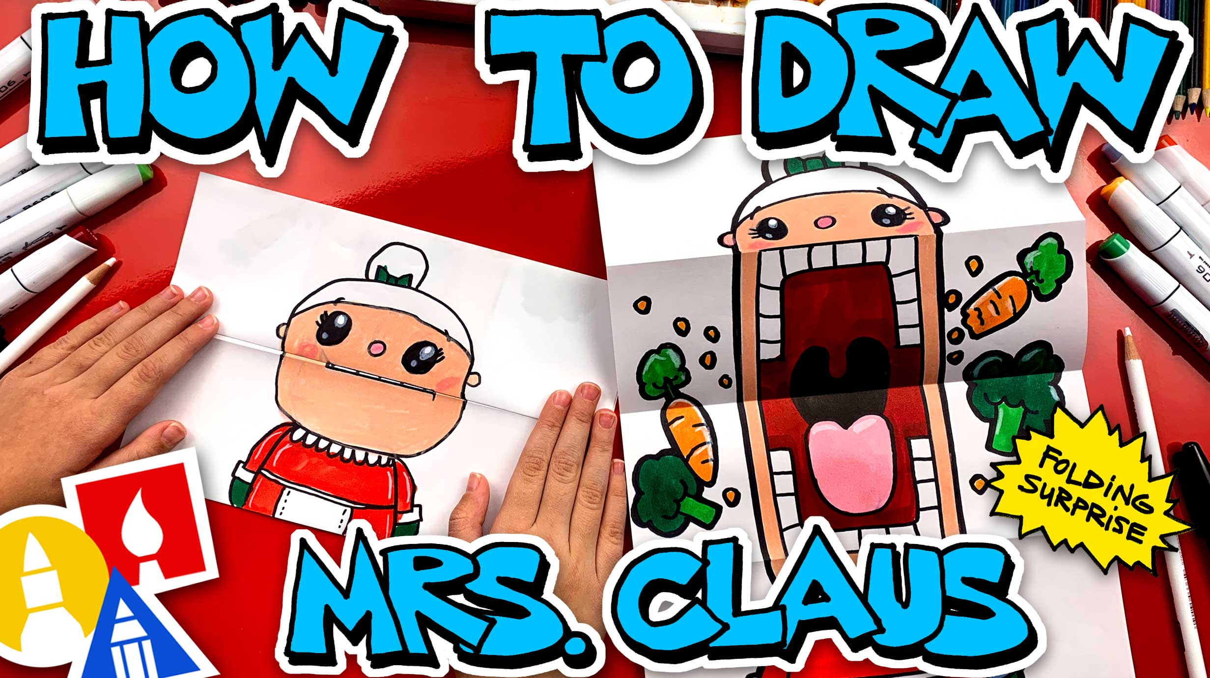 How To Draw Crazy Veggie Mrs Claus Puppet - Folding Surprise - Art For Kids Hub