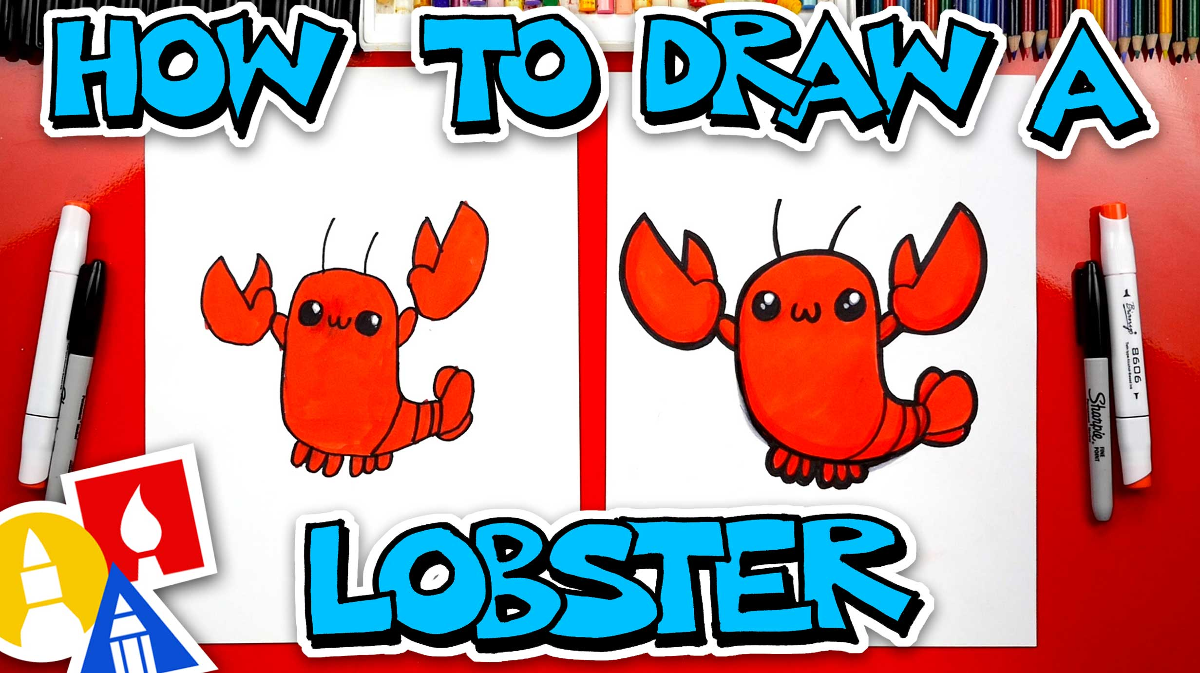 How To Draw A Lobster - Art For Kids Hub