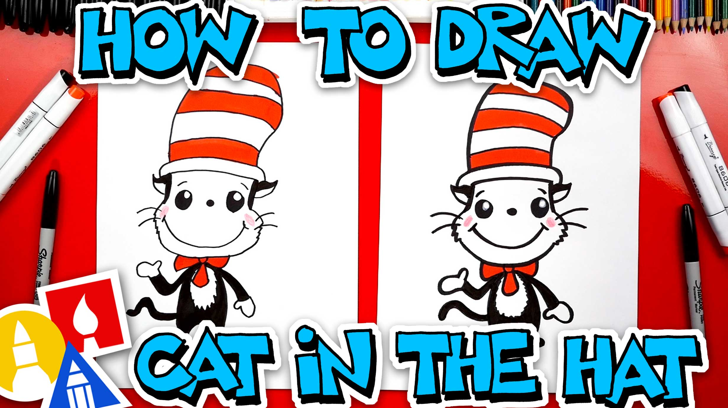 How To Draw The Cat In The Hat Easy Cartoon Version Art For Kids Hub