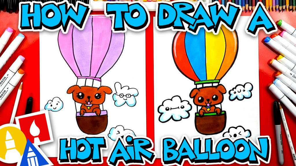 How To Draw A Hot Air Balloon With A Puppy